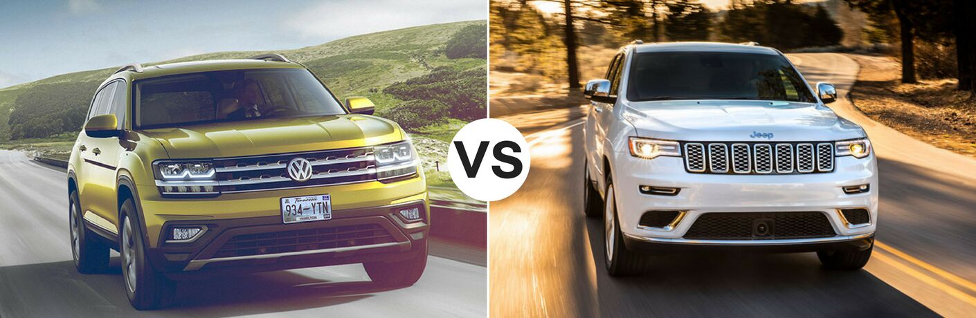 Yellow 2018 Volkswagen set against white 2018 Jeep Grand Cherokee