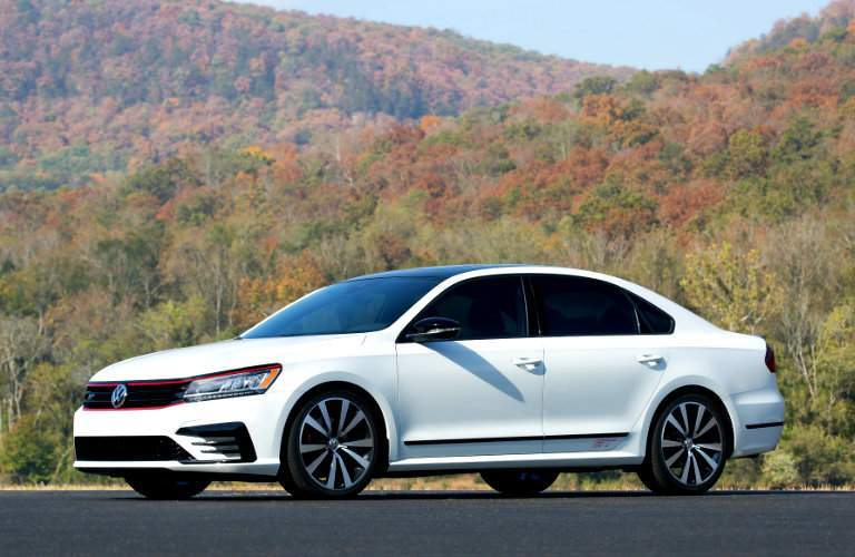 2018 Volkswagen Passat with colorful fall foliage in the background