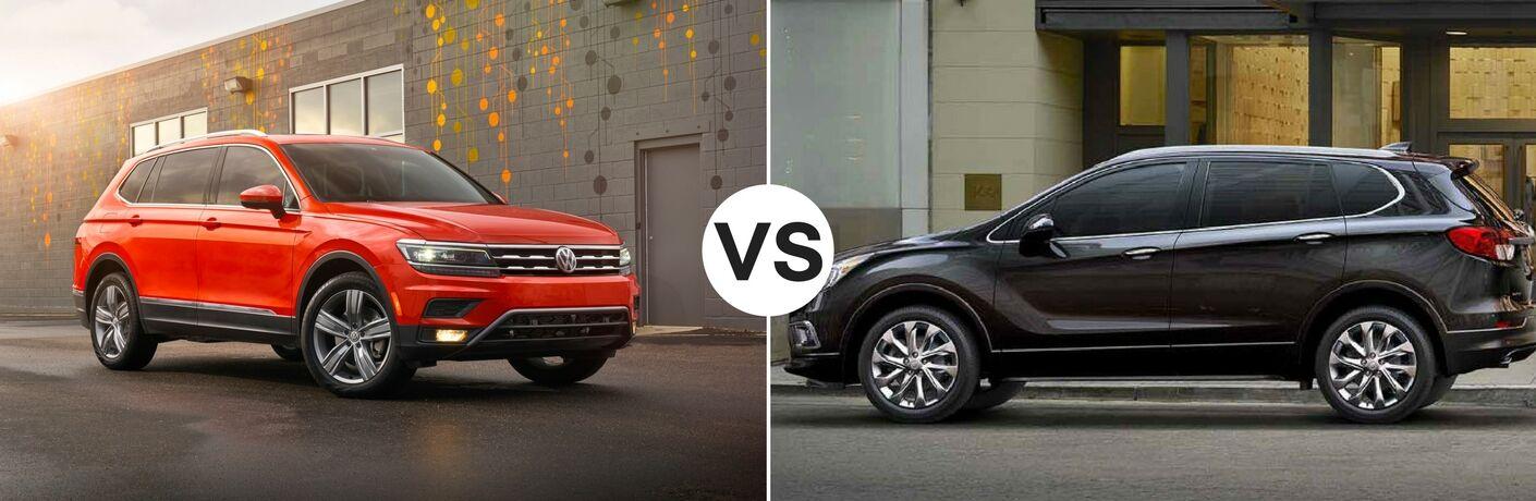 Orange 2018 Volkswagen Tiguan set against black 2018 Buick Envision