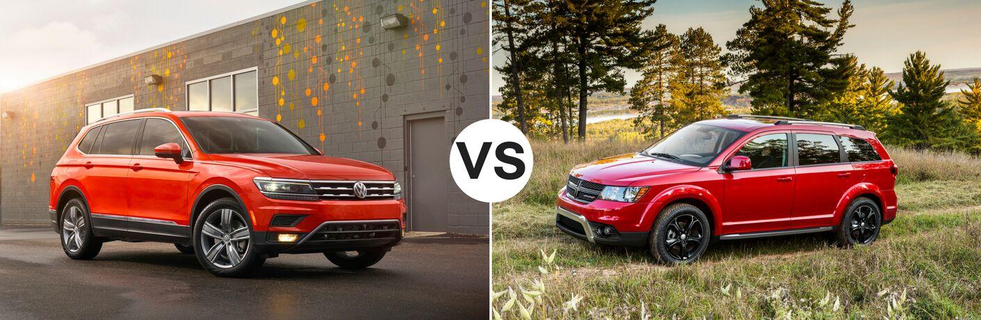 Orange 2018 Volkswagen Tiguan set against red 2018 Dodge Journey
