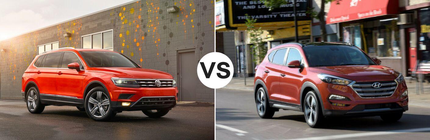 Orange 2018 Volkswagen Tiguan set against orange 2018 Hyundai Tucson