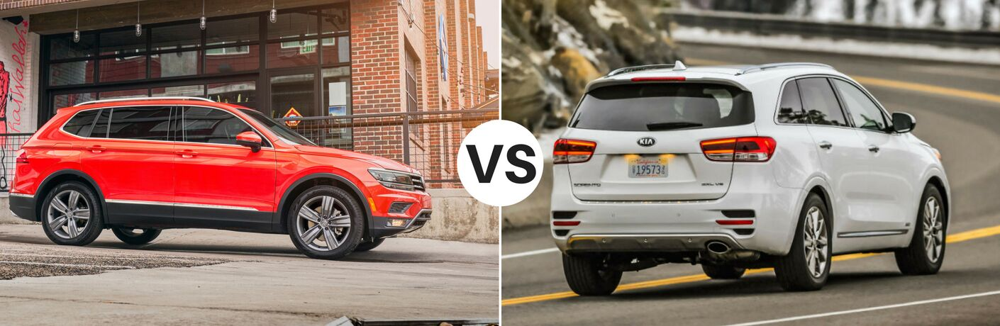 Orange 2018 Volkswagen Tiguan set against white 2018 Kia Sorento
