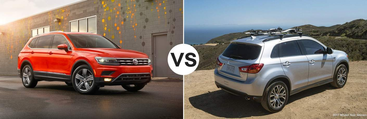 Orange 2018 Volkswagen Tiguan set against a white 2018 Mitsubishi Outlander Sport