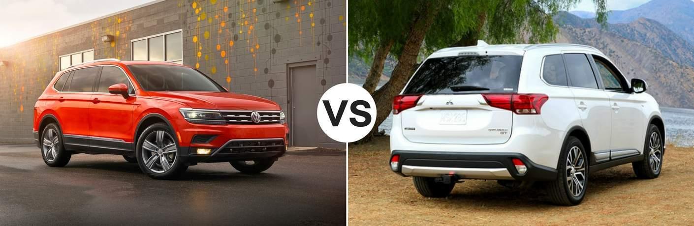 Orange 2018 Volkswagen Tiguan set against a white 2018 Mitsubishi Outlander