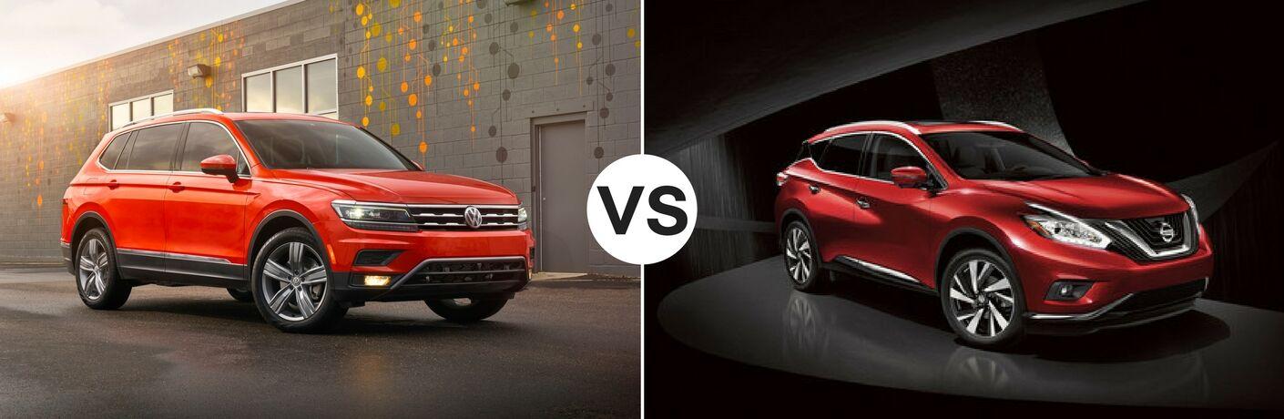 Orange 2018 Volkswagen Tiguan set against red 2018 Nissan Murano