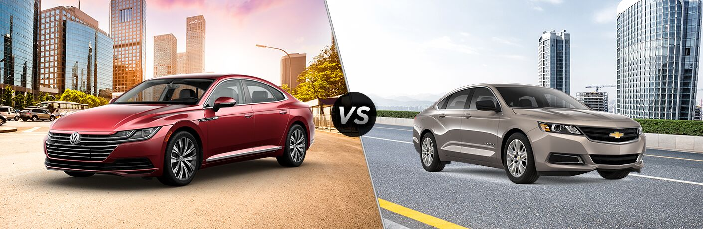 2019 VW Arteon exterior front fascia and driver side vs 2019 Chevy Impala exterior front fascia and passenger side on city road