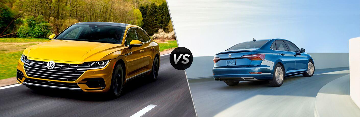 Yellow 2019 Volkswagen Arteon set against a blue 2019 Volkswagen Jetta
