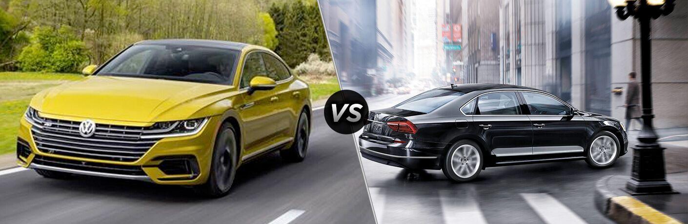 Yellow 2019 Volkswagen Arteon set against black 2019 Volkswagen Passat