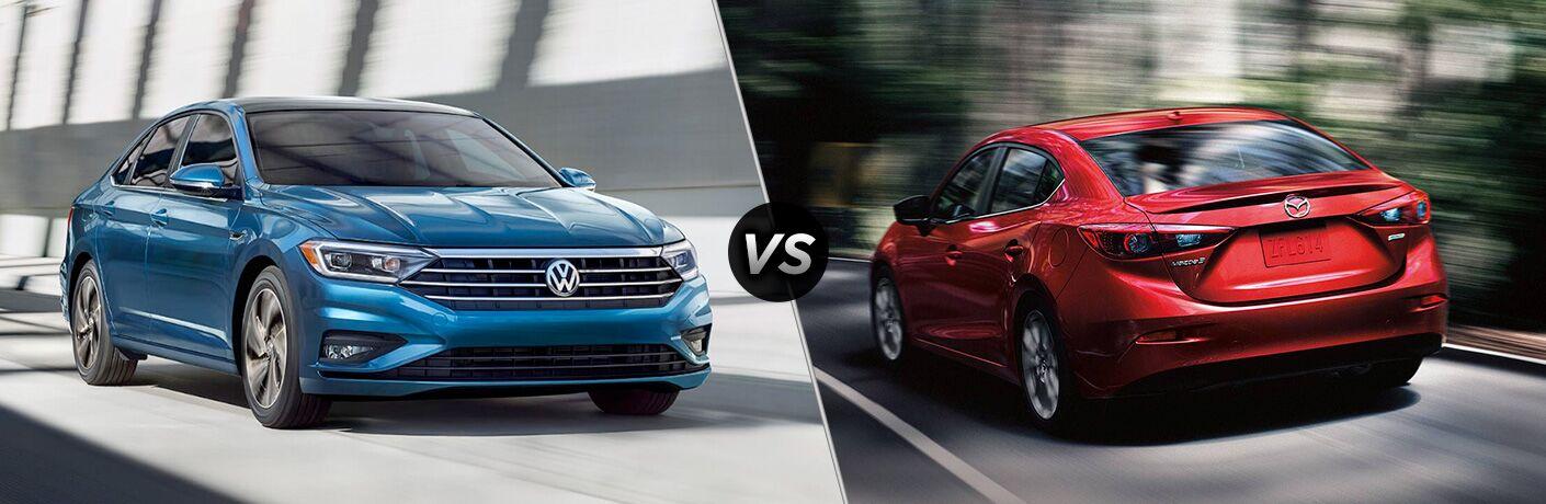 Blue 2019 Volkswagen Jetta set against red 2018 Mazda3