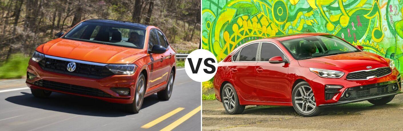 Orange 2019 Volkswagen Jetta set against red 2019 Kia Forte