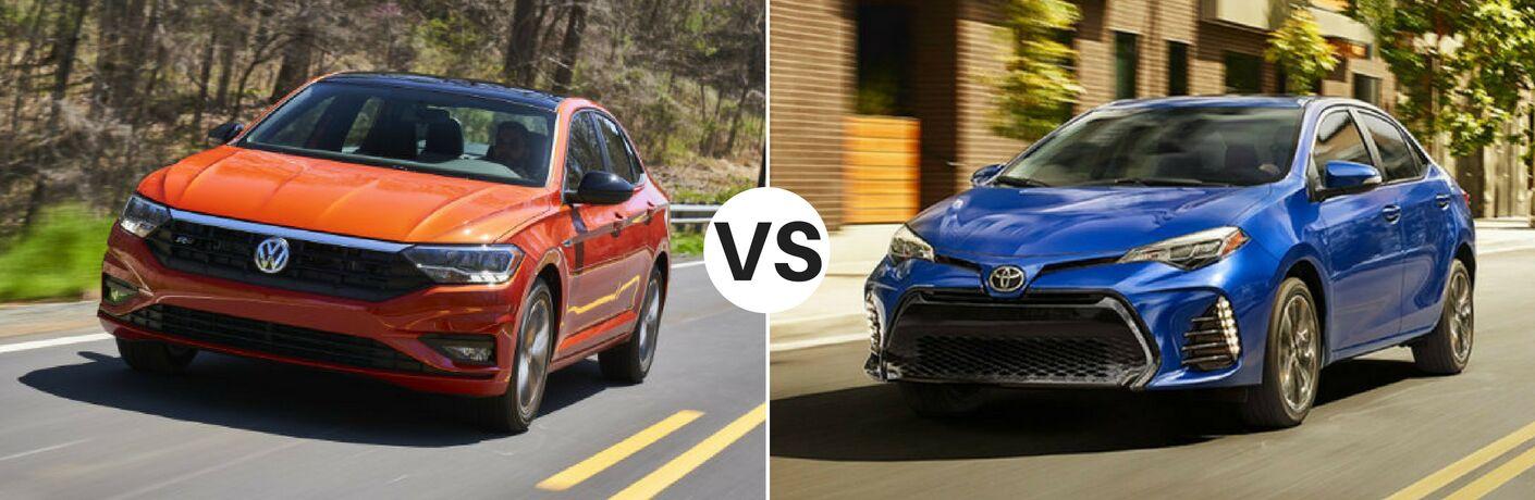 Orange 2019 Volkswagen Jetta set against blue 2019 Toyota Corolla