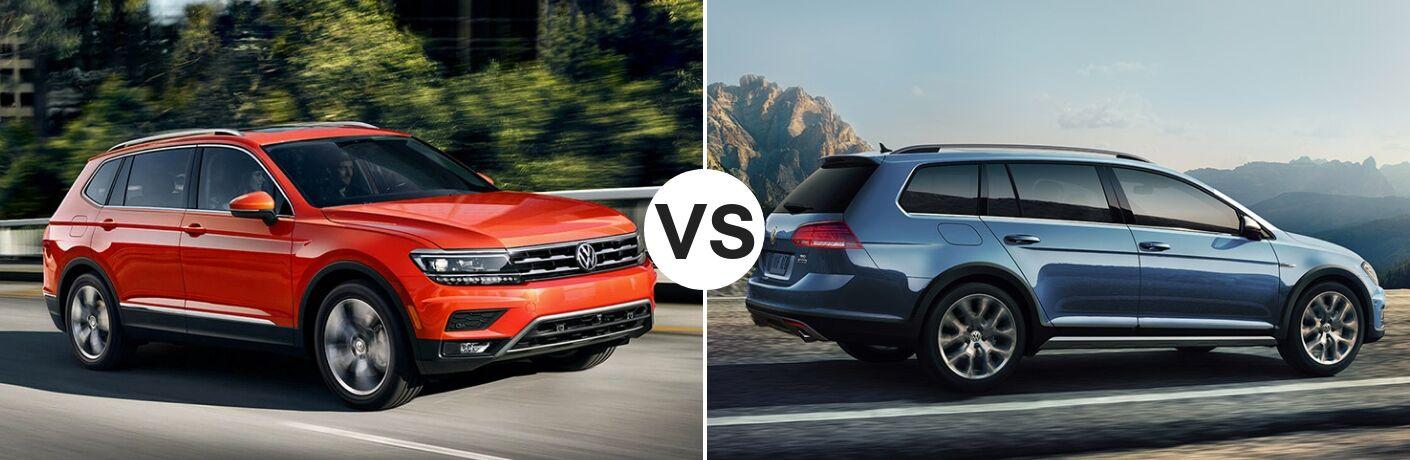Orange 2019 Volkswagen Tiguan set against a blue 2019 Volkswagen Golf Alltrack