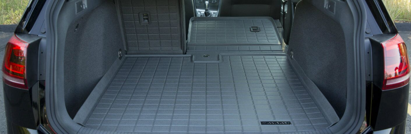 Rubber Volkswagen Muddy Buddy trunk liner in a VW Atlas