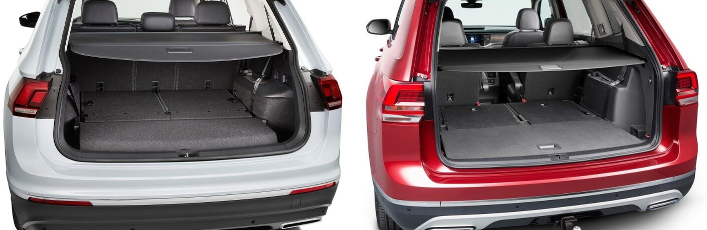 Privacy covers in a white VW Tiguan and red VW Atlas