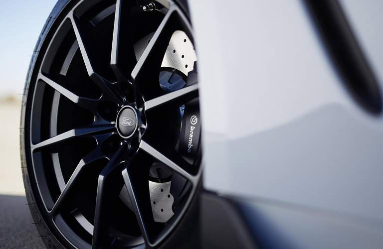 Ford Mustang Wheel View in Black with White Exterior