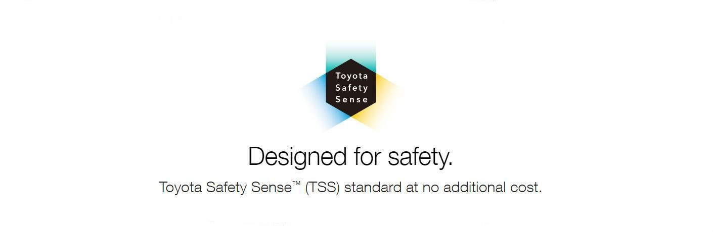 Toyota Safety Sense logo with the phrases Designed for safety and TSS standard at no additional costs on white background