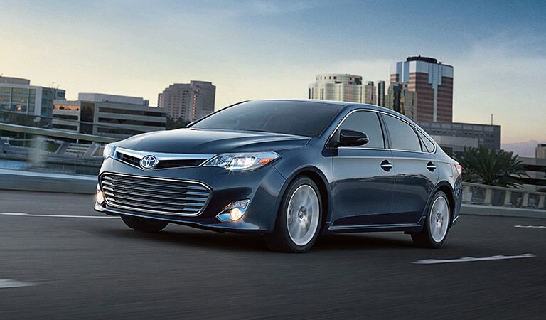 Toyota Avalon Exterior View of Side and Front End in Navy