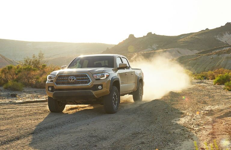 View of 2017 Toyota Tacoma Front End and Side View in Tan
