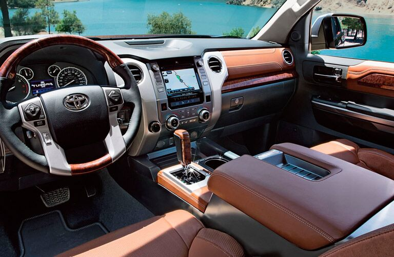 Interior of the 2017 Toyota Tundra in Tan
