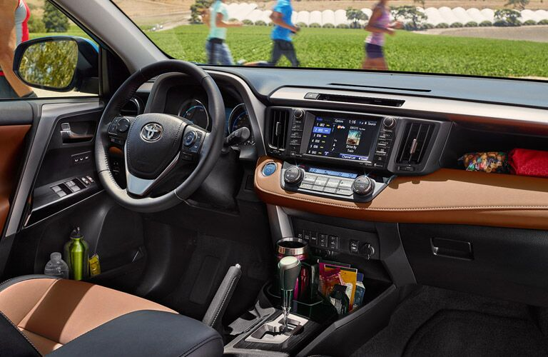 2017 Toyota RAV4 Interior View of Dashboard and Steering Wheel