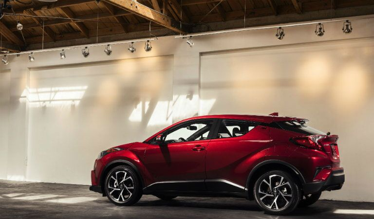 Red Toyota C-HR Side View and Rear End View