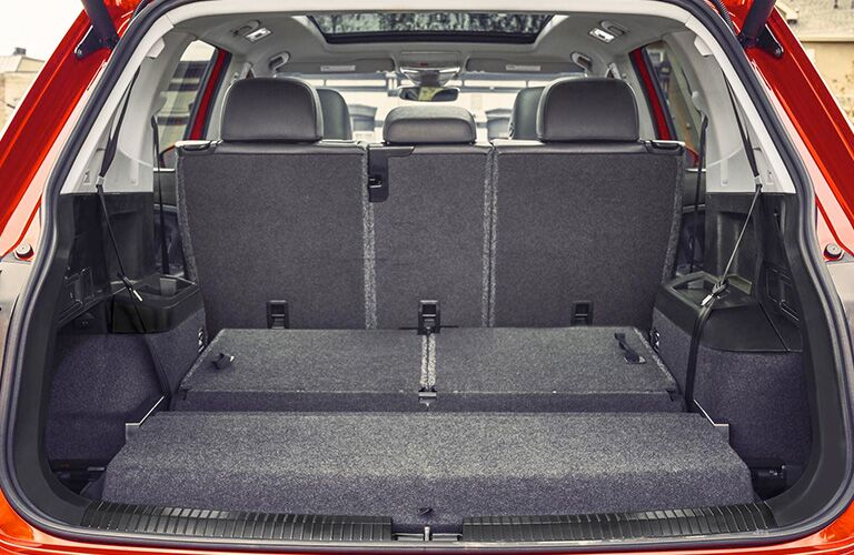 View of the 2019 Volkswagen Tiguan from the open trunk