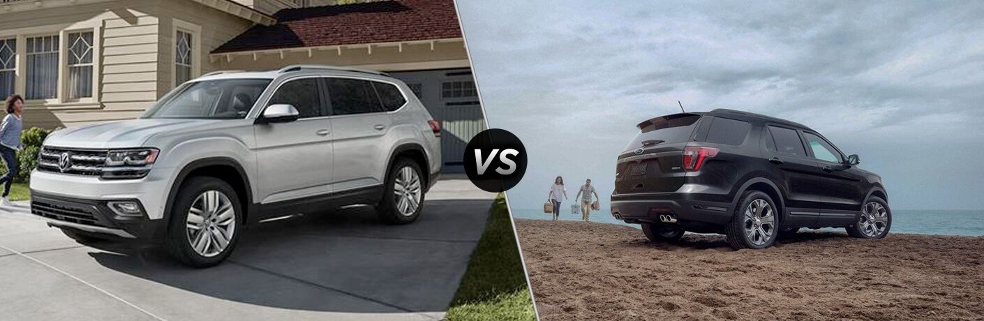 Front driver angle of a white 2019 Volkswagen Atlas on left VS rear passenger angle of a black 2019 Ford Explorer on right
