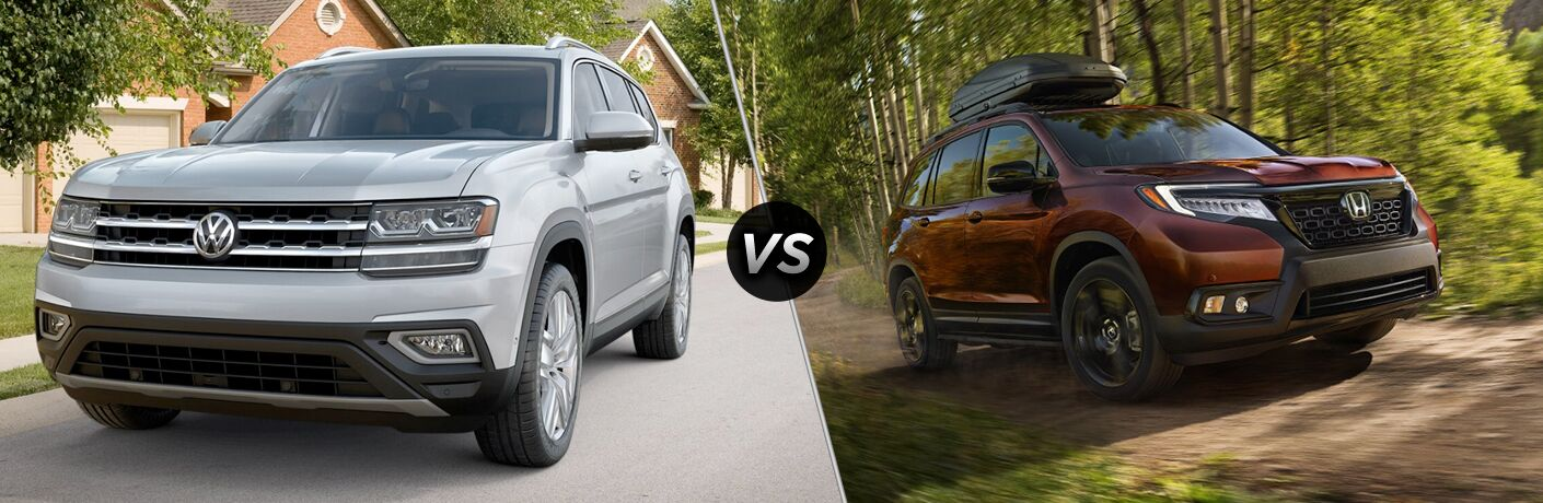 Front driver angle of a white 2019 Volkswagen Atlas on left VS front passenger angle of a red 2019 Honda Passport on right