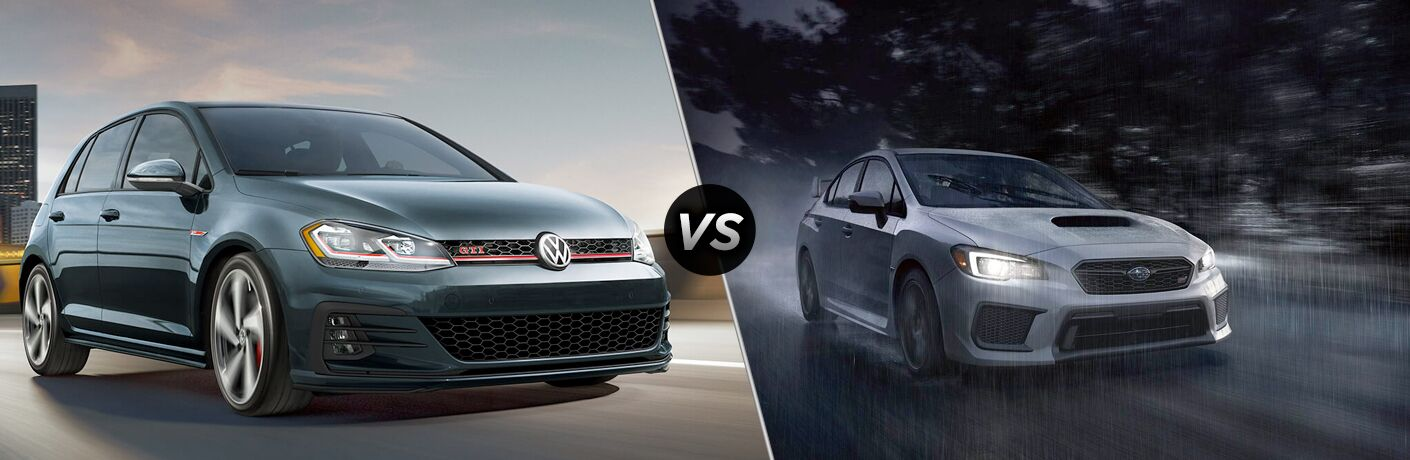 Front passenger angle of a green 2019 Volkswagen Golf GTI on left VS front passenger angle of a white 2019 Subaru WRX on right