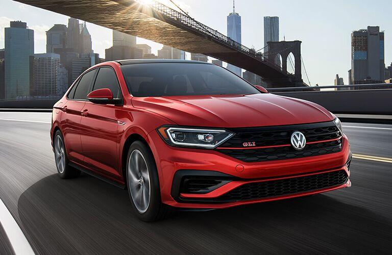 2019 Volkswagen Jetta GLI exterior front driving in a city