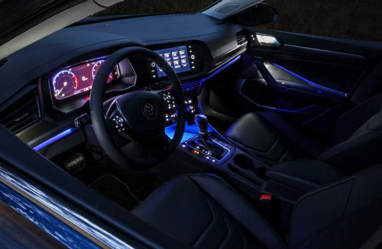 Interior of the 2019 VW Jetta with ambient lighting