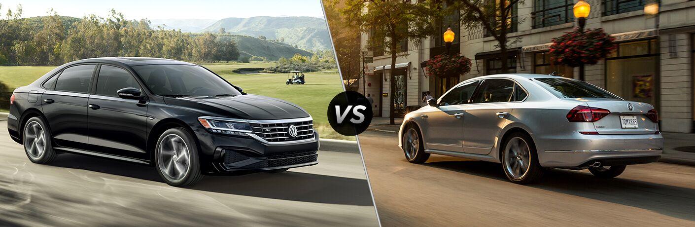 A side-by-side comparison between a dark gray 2020 Volkswagen Passat and a light gray 2019 Passat