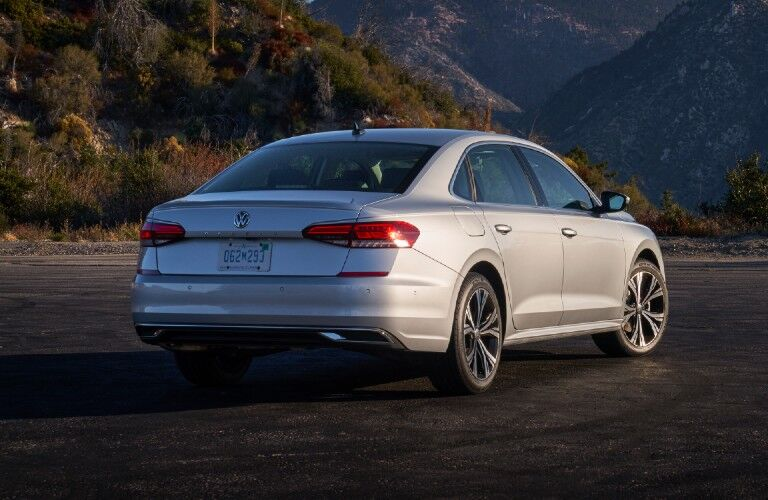 The rear and side image of a 2020 Volkswagen Passat during sundown.