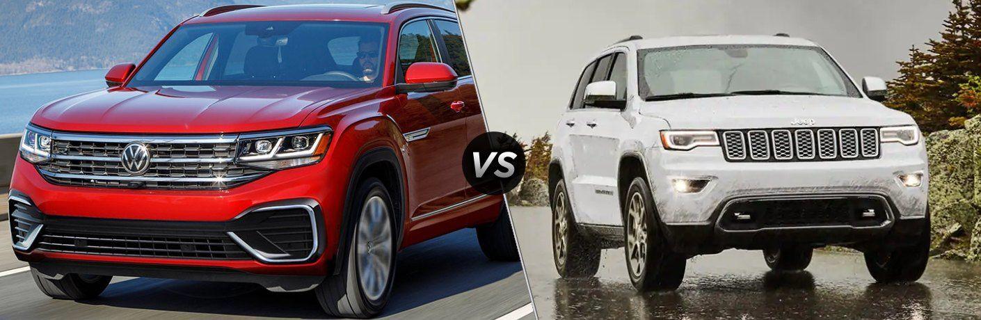 2021 Volkswagen Atlas Cross Sport next to a 2021 Jeep Grand Cherokee