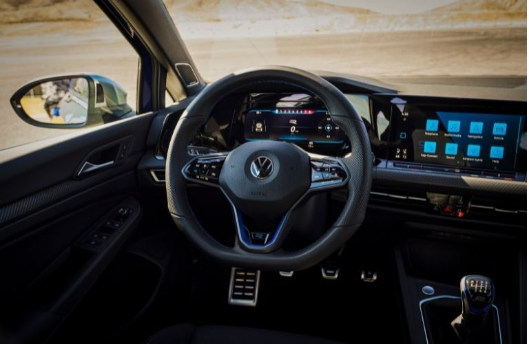 dashboard view of the 2022 VW Golf R
