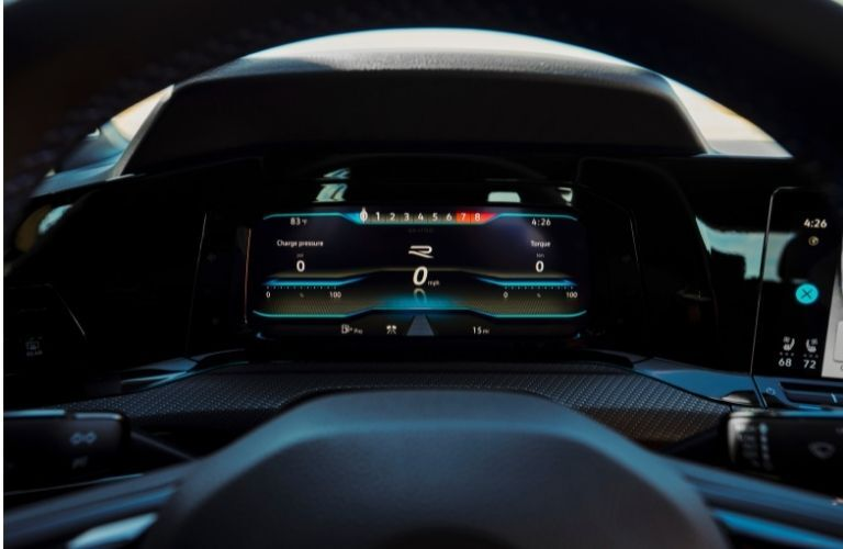 instrument cluster of the 2022 VW Golf R