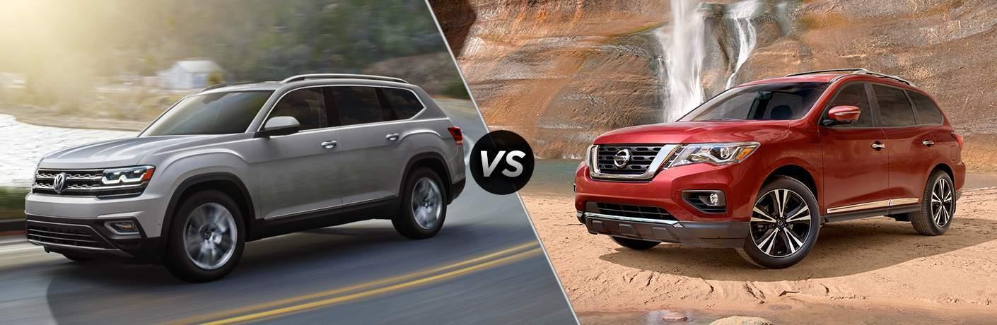 Grey 2018 Volkswagen Atlas and Red 2018 Nissan Pathfinder