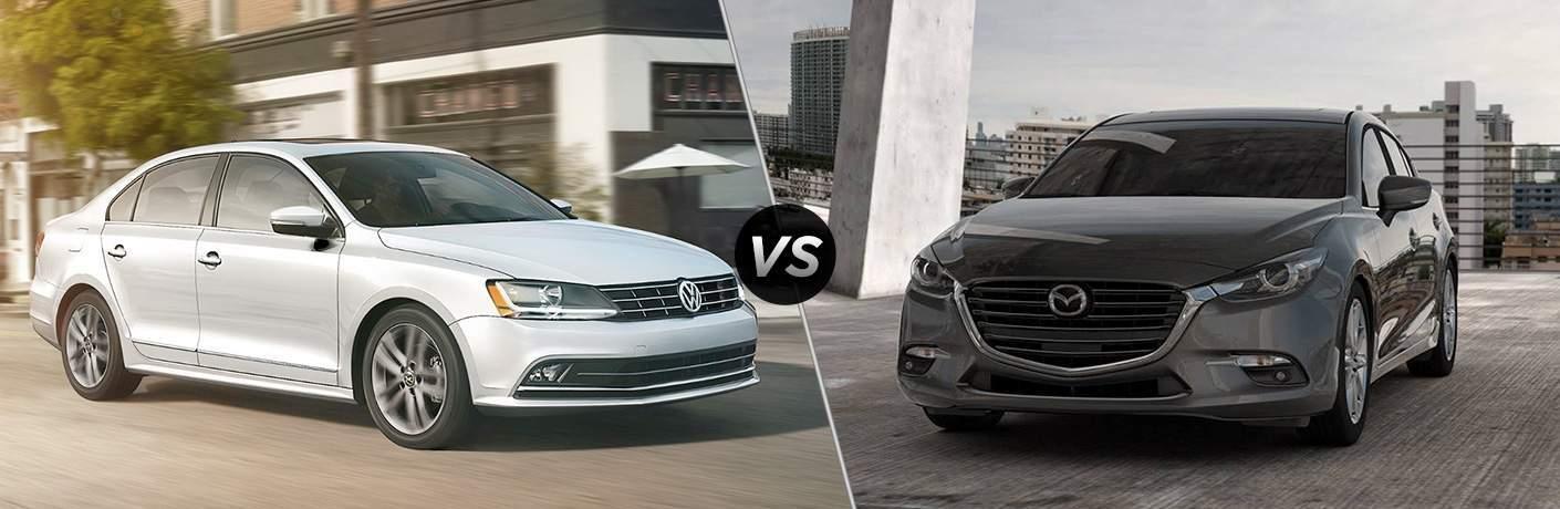 White 2018 Volkswagen Jetta, VS Icon, and Grey 2018 Mazda3