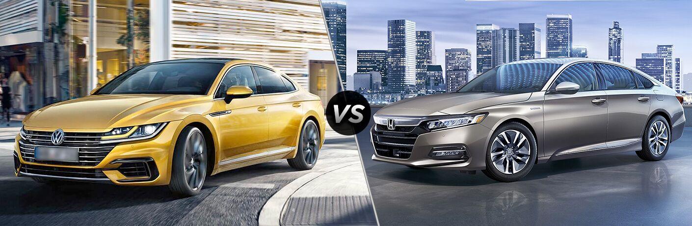 2019 Volkswagen Arteon next to a 2018 Honda Accord