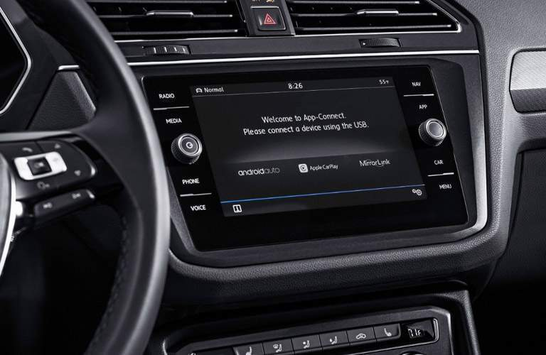 A view of the infortainment system available inside of the 2018 VW Tiguan