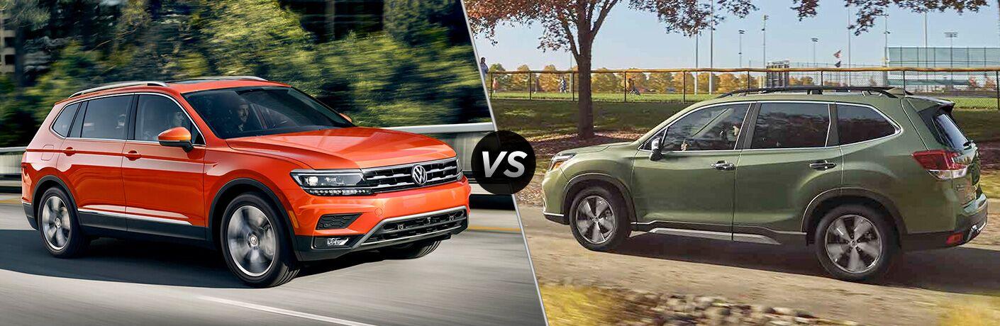 VW Tiguan and Subaru Forester in comparison image