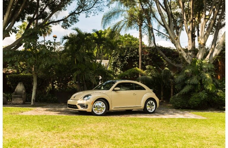 2019 Volkswagen Beetle Final Edition exterior shot with yellow paint color parked under a lush of green trees