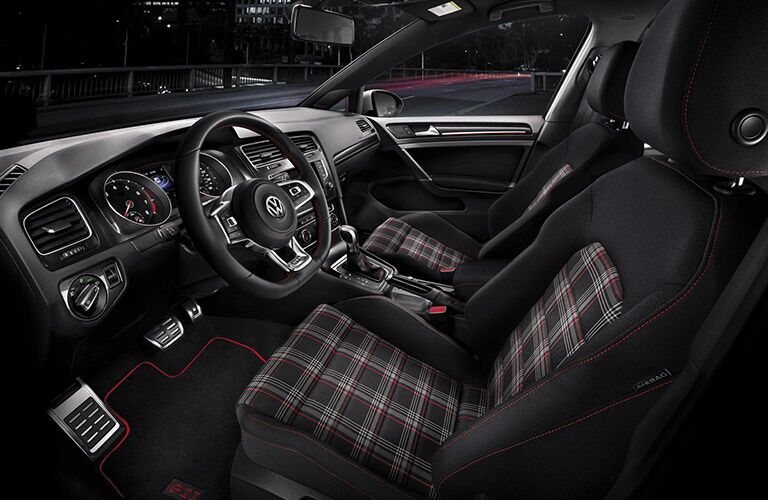 Interior of 2016 Volkswagen Golf GTI with Clark Plaid Seats