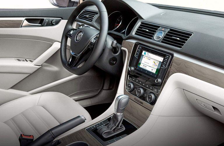 2017 Volkswagen Passat interior view tan with dash and steering wheel