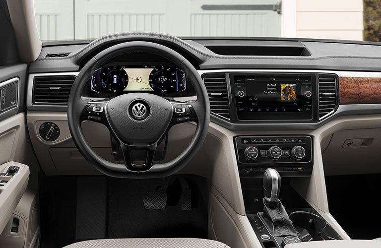 The front interior of a 2020 Volkswagen Atlas.