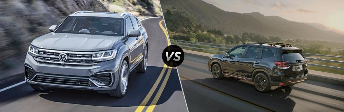 A gray 2020 Volkswagen Atlas compared to a black 2020 Subaru Forester.
