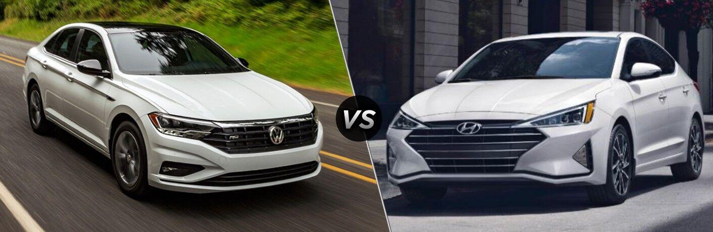 A white 2020 Volkswagen Jetta compared to a white 2020 Hyundai Elantra.