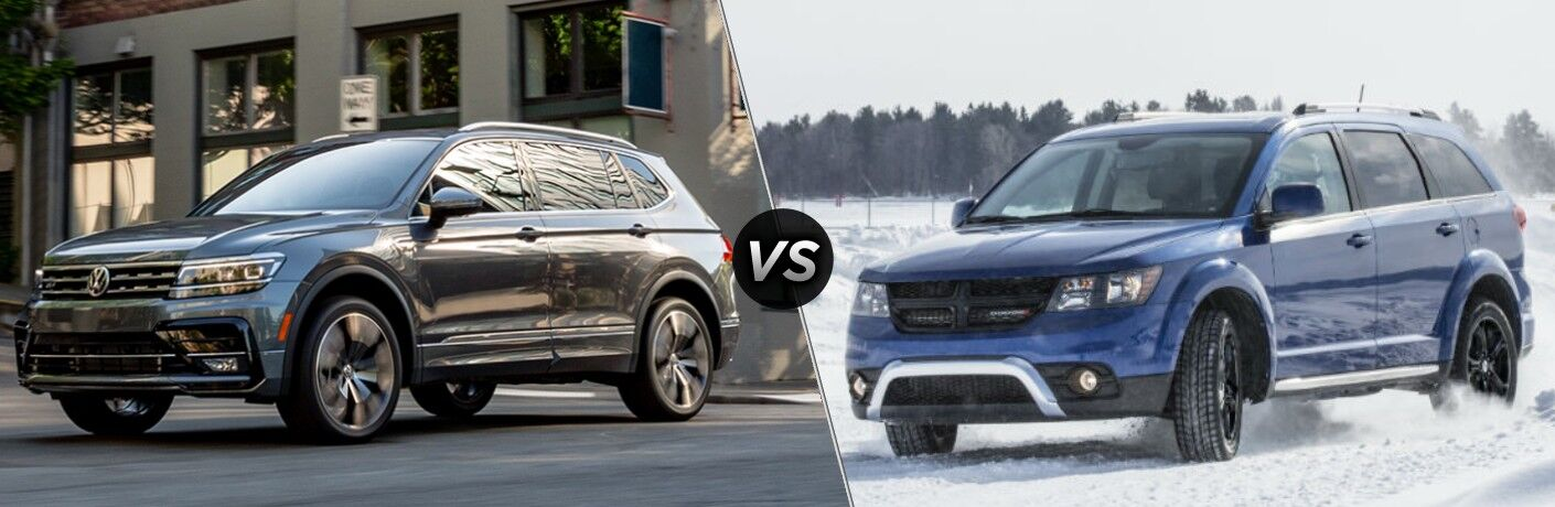 A gray 2020 Volkswagen Tiguan compared to a darker blue 2020 Dodge Journey.