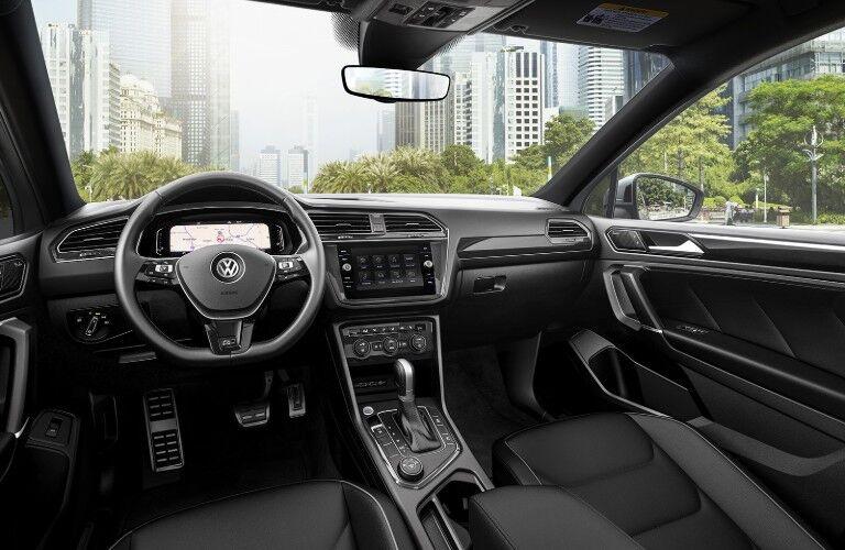 The front interior inside a 2020 Volkswagen Tiguan.