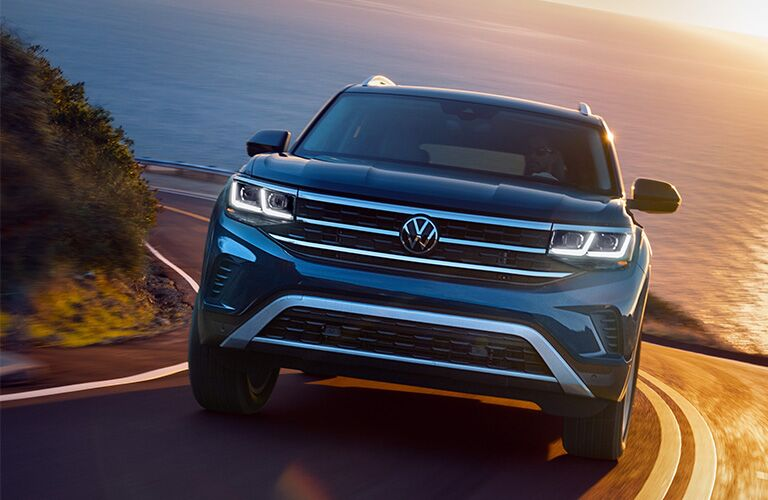 The front view of a blue 2021 Volkswagen Atlas